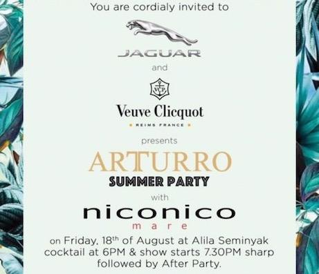 Arturro, party, summer, jaguar, verve clicquot, niconico mare, fashion tv, albens cider