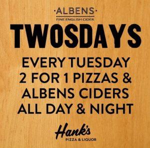 albens cider, hanks pizza, Indonesia, cider, Twosdays, happy hour