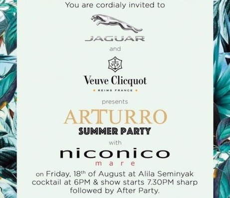 Arturro, party, summer, jaguar, verve clicquot, niconico mare, fashion tv, albens cider
